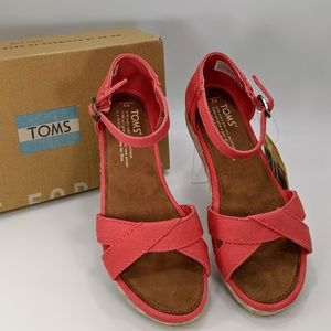 TOMS Youth Girl's Harper Coral Cotton Twill Sandal